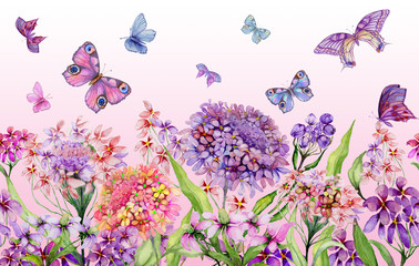 Panel SzklanyColorful summer wide banner. Beautiful vivid iberis flowers with green leaves on pink background. Horizontal template. Seamless panoramic floral pattern. Watercolor painting.
