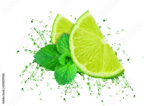 lime juice splash and mint isolated on white