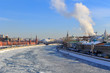 Frozen Moskva river on the background of Sofiyskaya embankment. Moscow in winter