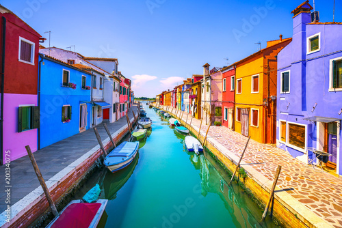 Poster Venetie Venice landmark, Burano island canal, colorful houses and boats, Italy