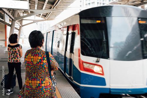 Photo  BTS skytrain train runs in Bangkok