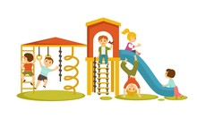 Children Have Fun At Playgroun...