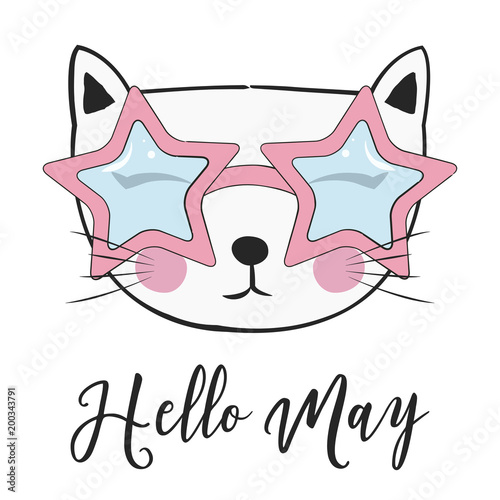Foto op Aluminium Retro sign hello may card