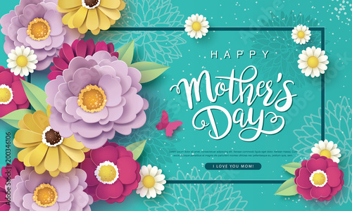 Obraz Happy Mother's Day greeting card design with beautiful blossom flowers - fototapety do salonu