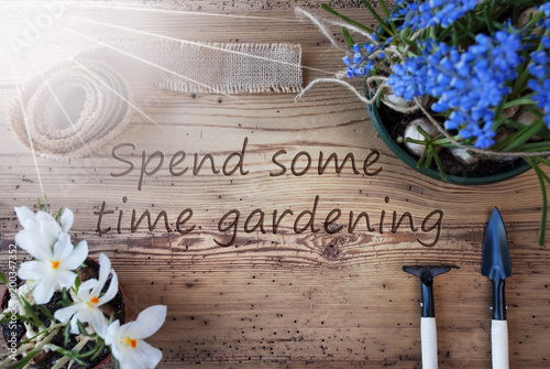 Fotografía  Sunny Spring Flowers, Text Spend Some Time Gardening