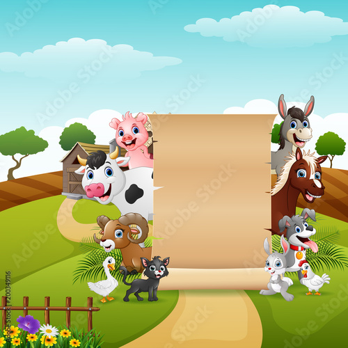 Cuadros en Lienzo Blank sign paper with the animals at the farm
