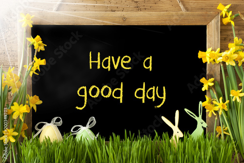Photo  Sunny Narcissus, Easter Egg, Bunny, Text Have A Good Day