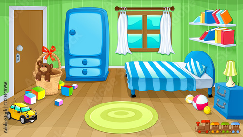 Poster Kinderkamer Funny bedroom with toys