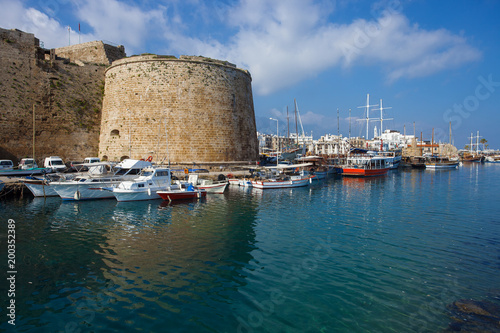 Garden Poster Cyprus Beautiful view of old harbour in Kyrenia town, North Cyprus