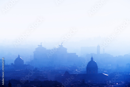 Aluminium Prints Delhi Rome rooftop view at sunrise silhouette with ancient architecture in Italy