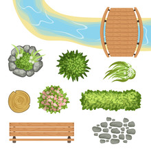 Flat Vector Set Of Landscape E...