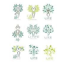 Healthy Life Logo For Wellness Center, Spa Salon Or Yoga Studio. Harmony With Nature. Set Of Flat Vector Emblems With Abstract Human Silhouettes And Leaves
