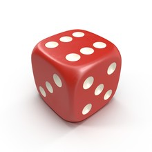Red Dice Isolated On White. 3D Illustration