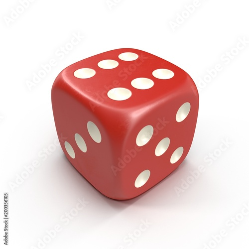 Leinwand Poster Red dice isolated on white. 3D illustration