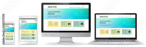 Responsive Web Site Design With Computer Monitor, Laptop, Tablet PC and Mobile P Wallpaper Mural