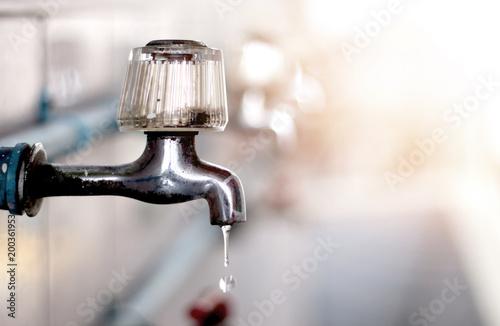 Deurstickers Droogte no water dry faucet, water crisis disaster