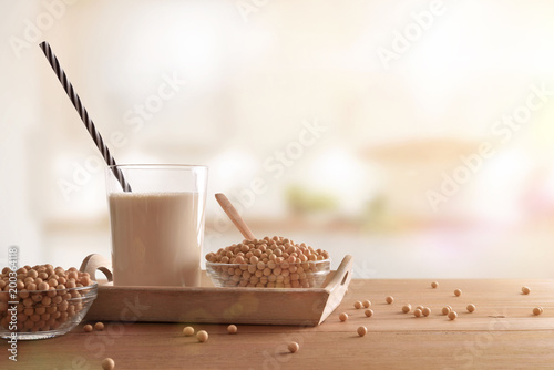Wall Murals Coffee beans Soy milk and grains in white kitchen front