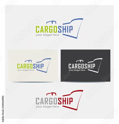 Logo Bateau Cargo Multicolore Icone Carte De Visite Et Charte Graphique Entreprise Plusieurs Couleurs