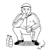 Gopnik Hooligan Man Coloring B...