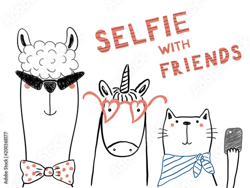Hand drawn portrait of a cute funny unicorn, llama, cat, taking selfie together. Isolated objects on white background. Line drawing. Vector illustration. Design concept for children print.