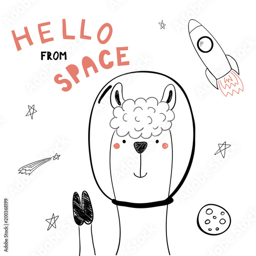 Printed kitchen splashbacks Illustrations Hand drawn portrait of a cute funny llama in space, waving, with typography. Isolated objects on white background. Line drawing. Vector illustration. Design concept for children print.