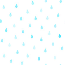 Hand Drawn Seamless Vector Pattern With Watercolor Rain Drops, On A White Background. Design Concept Kids Textile Print, Wallpaper, Wrapping Paper.
