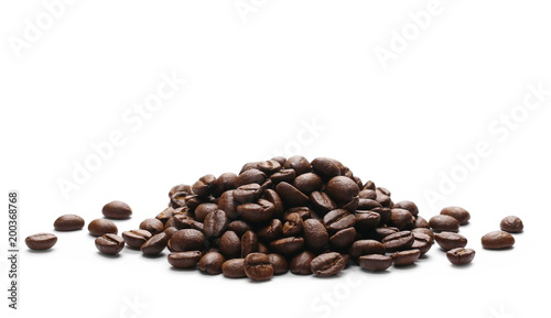Valokuvatapetti Pile coffee beans isolated on white background and texture