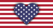 Love USA. Flag Heart With Shad...