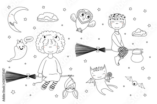 Photo Stands Illustrations Hand drawn black and white vector illustration of cute funny witch girls flying on broomsticks, bat, ghost, owl, cat with wings, moon. Isolated objects. Design concept for children coloring pages.
