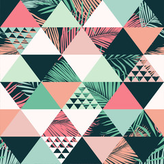 Abstract trendy seamless pattern, illustrated floral vector tropical leaves. ...