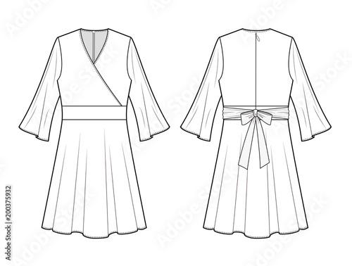 DRESS Fashion Flat Technical Drawing Template