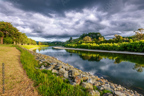 Foto op Canvas Rivier On the banks of the river Manawatu
