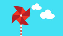 Motion Graphic Of A Red Pinwheel That Is Moved By The Wind