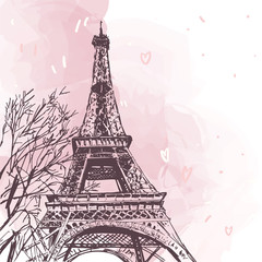 Panel Szklany Podświetlane Do pokoju dziewczyny Eiffel tower vector illustration isolated on white. Vector Parisian pink illustration. French landmark isolated