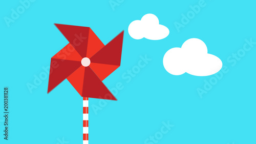 Fotografie, Tablou  motion graphic of a red pinwheel that is moved by the wind