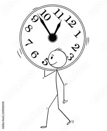 Cartoon Stick Man Drawing Conceptual Illustration Of Businessman Carry Big Wall Clock Business Concept Of Time Management Buy This Stock Vector And Explore Similar Vectors At Adobe Stock Adobe Stock