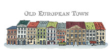 Old Town, Lviv, Rynok Square. Facades Of The European City. Cute Colored Houses. Bright Vector Illustration.