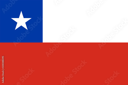 Chile flag standard proportion and colour mode RGB Fototapeta
