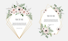 Set Botanic Card With Wild Flowers, Leaves. Spring Ornament Concept. Floral Poster, Invite.