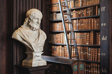 Sculpture Of Plato In Library