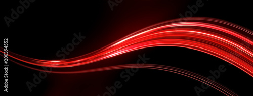Fotobehang Abstract wave Light and stripes, glow abstract effect, paint splash, colorful curl, artistic spiral. Vivid red ribbon on black background. 3d illustration