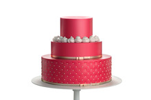 Delicious Red Three Tiered Wed...