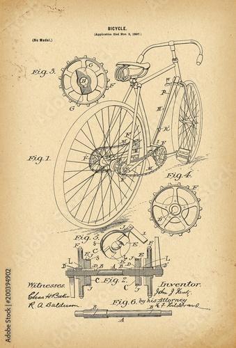 Obraz 1897 Patent Velocipede Bicycle history  invention - fototapety do salonu