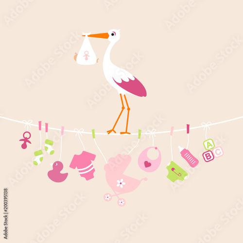 Foto op Plexiglas Restaurant Stork Girl Baby Symbols Hanging