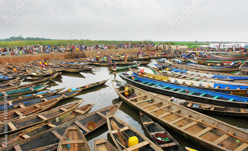 Lake village Ganvie on Lake Nokoué near Cotonou, Benin