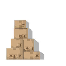 Stacked Boxes. Isolated On Whi...