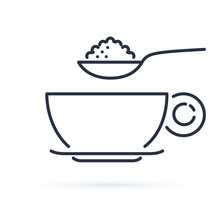 Sugar Spoon Icon Line Symbol. ...