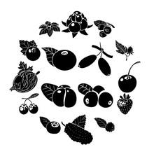 Berries Icons Set, Simple Style