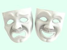 White Theatrical Masks Depicti...
