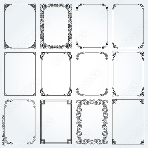 Photo  Decorative rectangle frames and borders set vector